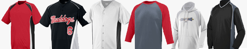A variety of sporting apparel from Augusta Sportswear